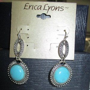 New Erica Lyons Silver Faux Turquoise Earrings